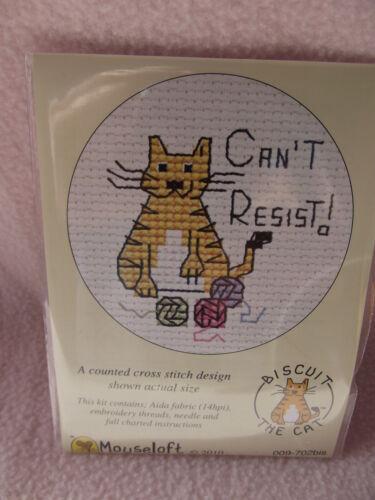 Mouseloft stitchlets Cross Stitch Kit ~ ~ biscuit le chat ne peut pas résister ~ Nouveau