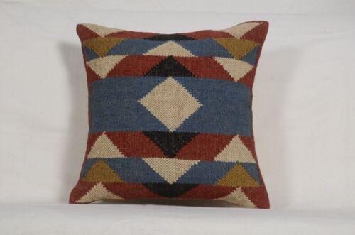 2 Set of Vintage Kilim Pillow Case 18x18 Hand Woven Jute Rug  Cushion Cover 8085