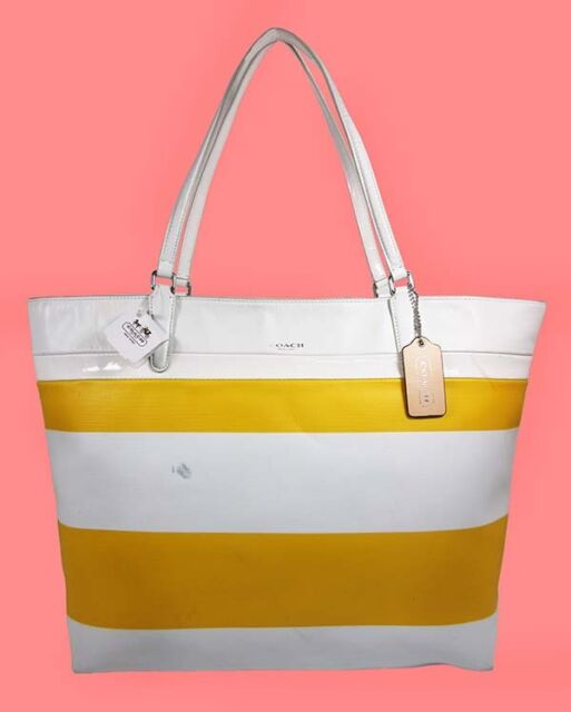 Coach 30511 Auth Stripe Coated Canvas Tote Yellow White Handbag Purse B02