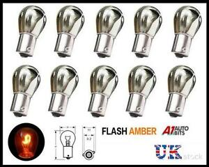 Bombillas-de-color-ambar-Trasero-Indicador-De-Plata-581-PY21W-12v-Luz-Freno-Cola-de-senal-de-vuelta