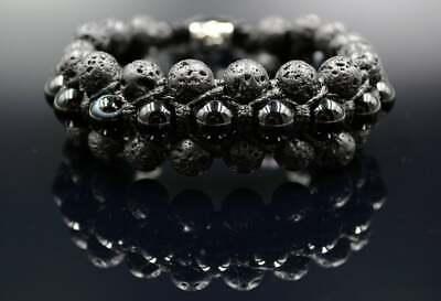 Schlussverkauf Männer Armband Dreifach Shamballa Herren Edelstein Achat Lava Geschenk Für Mann Elegant Im Geruch