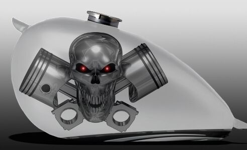 Boat Truck Motorcycle Tank Harley Graphics Decals Stickers Pistons Skull 2-SET