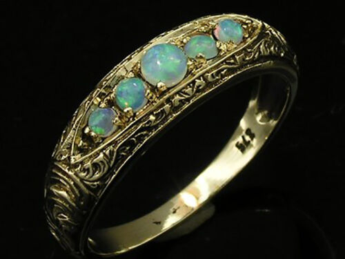 R078 SOLID 9K Gold NATURAL Opal 5stone Etched ETERNITY Wedding Ring size N
