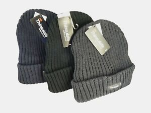 Chunky-Thinsulate-Thick-Woolly-Hat-Beanie-Hat-for-Winter-etc-Black-Grey-Blue