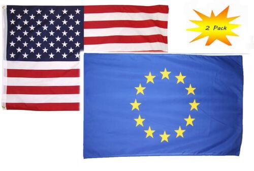 2 Pack 2x3 2/'x3' Wholesale Set USA American /& European Union Flag Banner