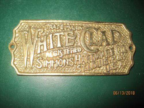 WHITE CLAD ICE BOX NAME TAG BRASS $4.99