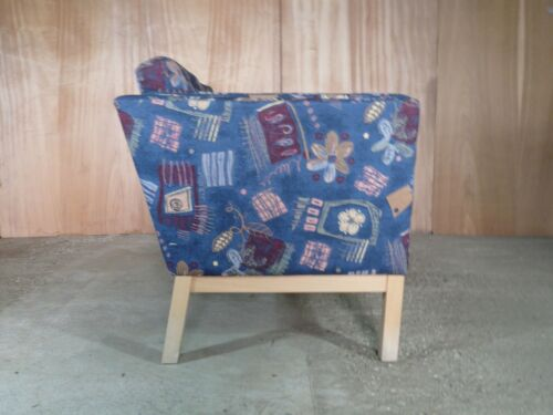 EB315 Skippers Blue Fabric Two-Seat Sofa Vintage Retro Mid-Century Modern Danish