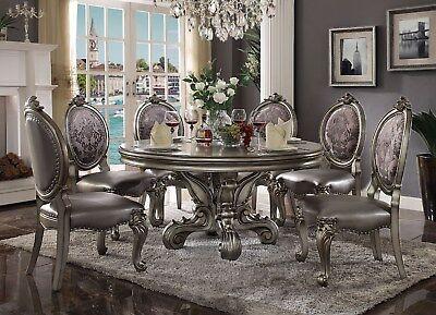 New Versailles 60 Round Antique Platinum Finish Formal Luxury Dining Table Set Ebay