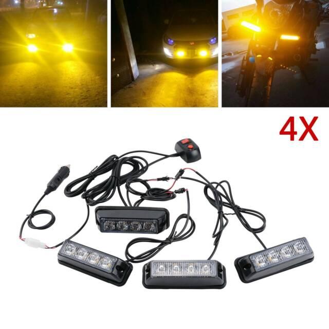 4x 4 Led Mount Amber Strobe Flashing Lights Recovery Lightbar Beacon Truck Car