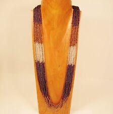 "32"" Long Multi Strand Lt Purple Gold Color Block Handmade Seed Bead Necklace"