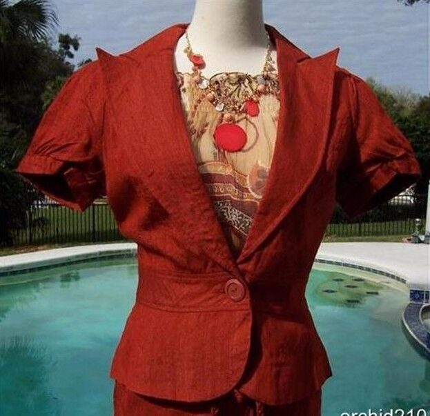 Cache 100% Raw Silk Lined Top Jacket New Sz 0 2 4 6 8 10 12 Rust Farbe  NWT