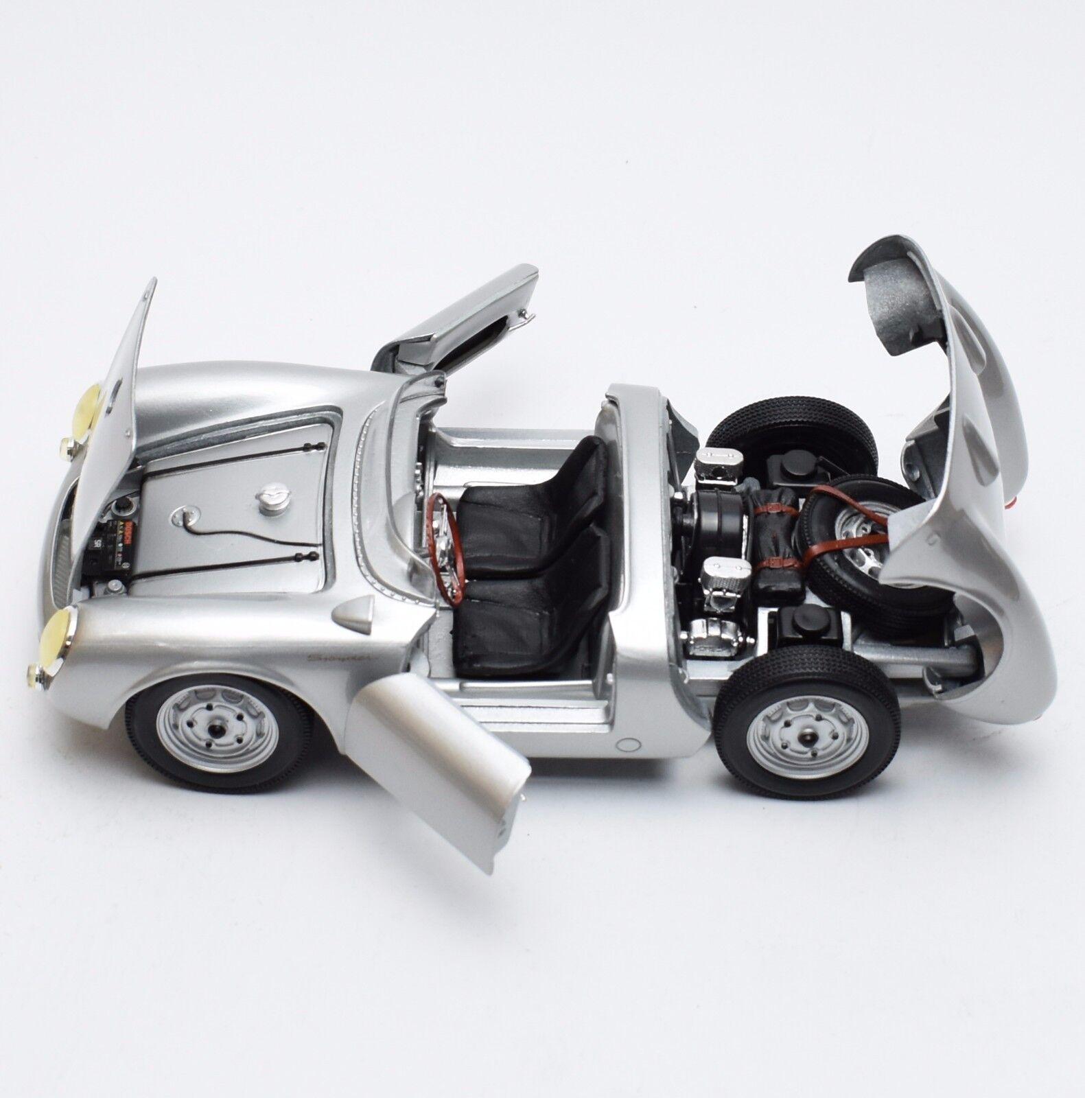 Porsche 550 A Spyder voiture de sport en argent laqué, Maisto, 1 18, NEUF dans sa boîte, k054