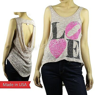 LOVE Heart Spancole Pink Print Valentine High Low Knit Mesh Tank Top Shirt USA