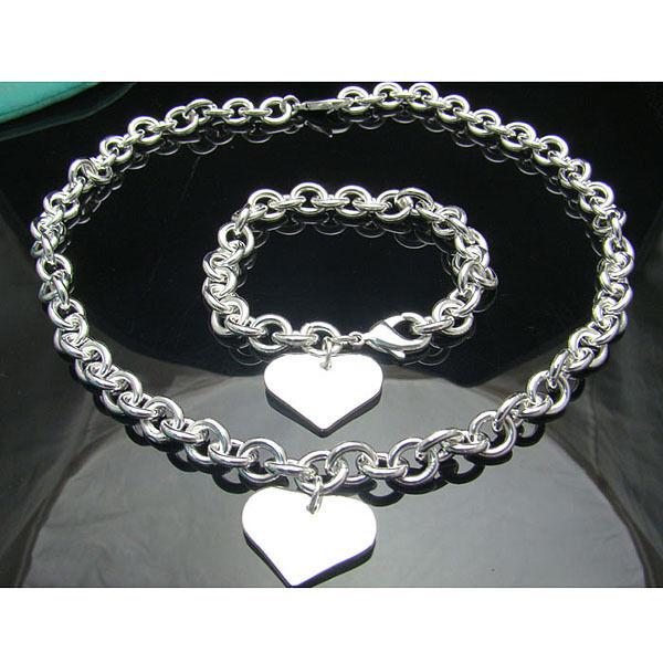 925 Sterling Silver Solid Sweet Heart Women Chain Necklace Bracelet Set