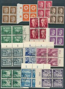 Lot-Stamp-Germany-Blocks-WWII-3rd-Reich-Ostland-Hitler-Postal-Union-Official-CTO