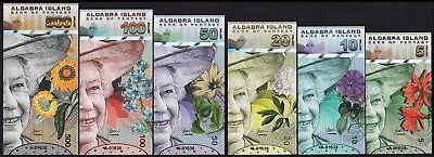 Aldabra Island 5-200 Dollars 6 Pcs Set 2019 Matching S//N QEII Polymer