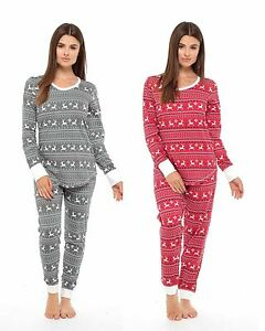Image is loading Ladies-Jersey-Fair-Isle-Reindeer-Pyjamas-Twosie-Cotton- a2ae6c3c0
