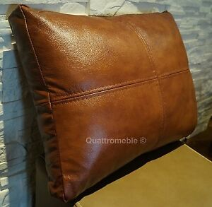 Details about 100% Real Genuine Italian Leather Cushions Pillows Sofa  Cushion Covers + Zipper