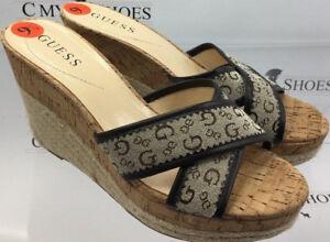 0b8ee0d96a35 GUESS Women s Platform Wedges Slide Cork Brown Beige Size US 9.5 ...