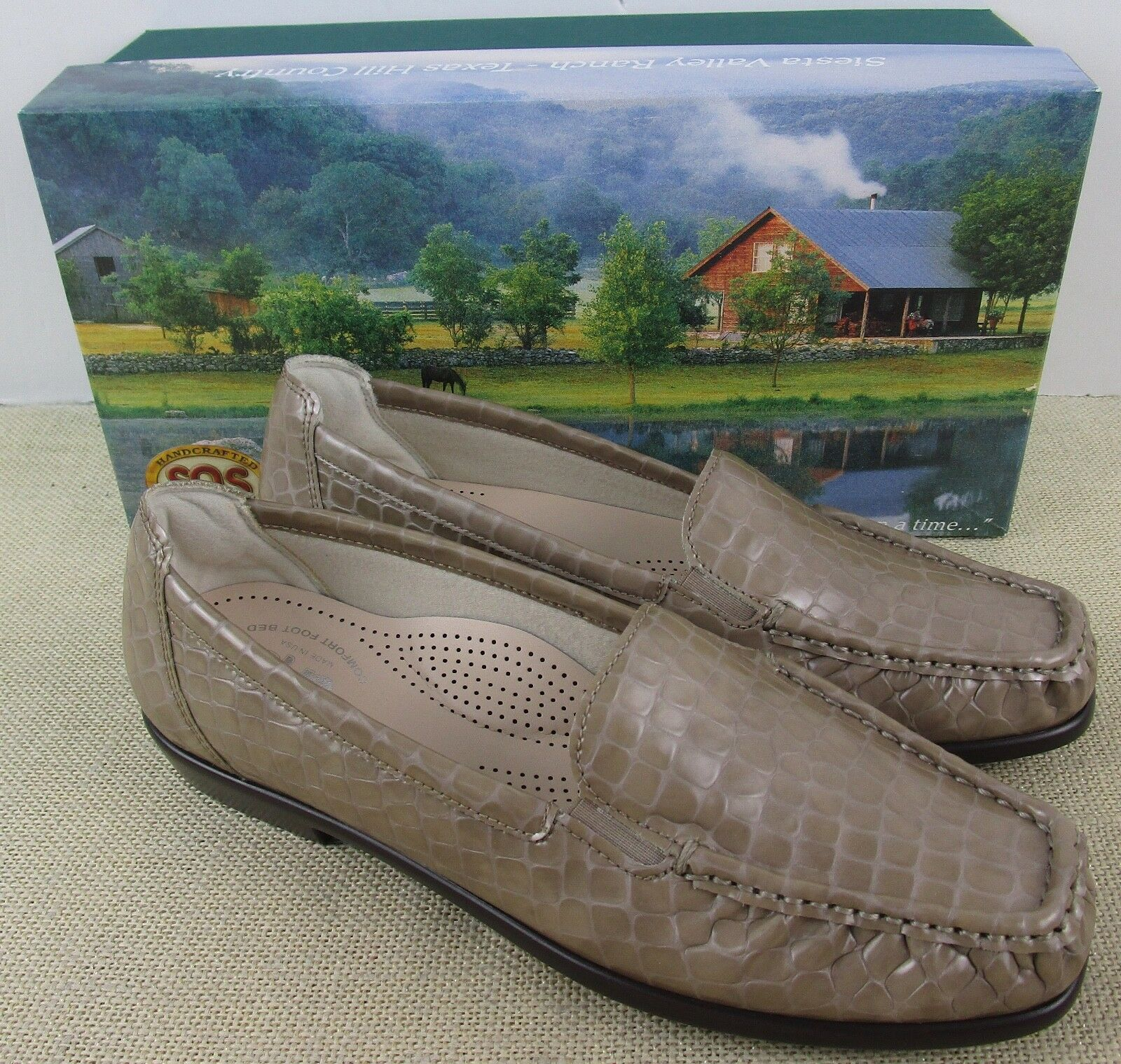 SAS JOY TAUPE CROC WOMEN'S SLIP ON LOAFER SHOES NEW IN BOX USA