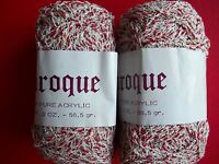 Baroque Yarn By Super Yarn Mart, Raven (silvery White/red Twist), Lot Of 2