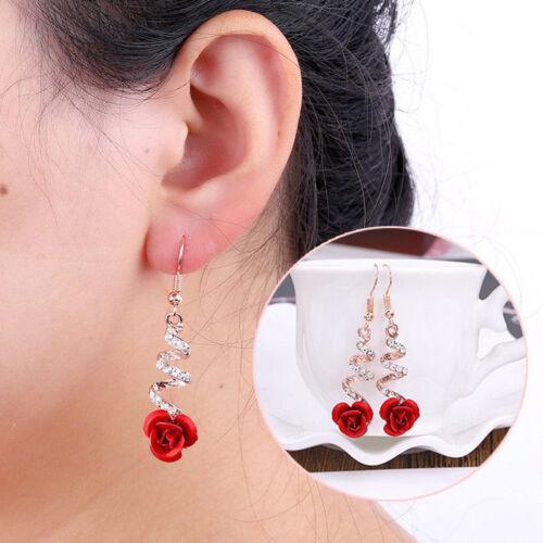 Women/'s Elegant Rose Crystal Ear Stud Rhinestone Flower Earrings Jewelry