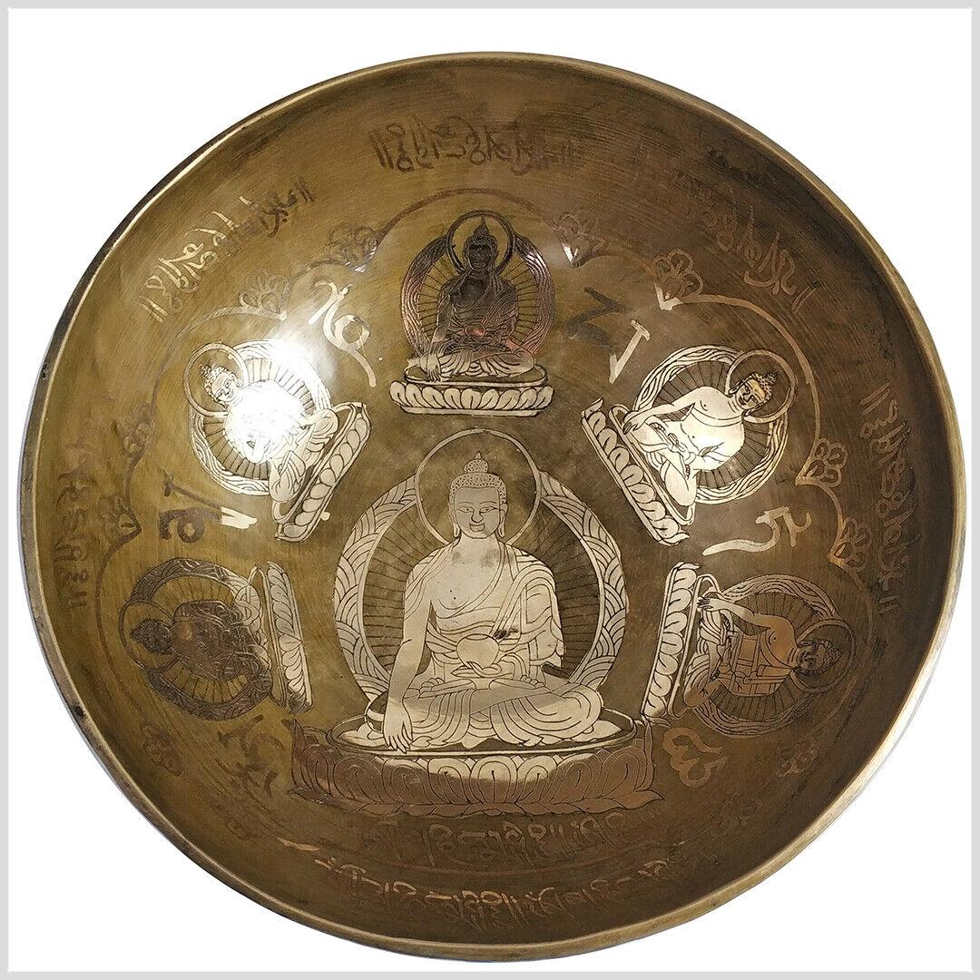 Nepalesische Klangschale Handarbeit 7 Metalle 2827 Gramm Sechs Buddhas