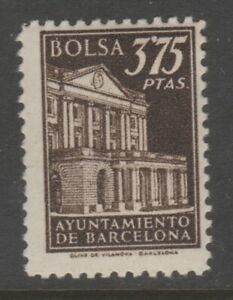 Spain-revenue-fiscal-stamp-4-3-mnh-gum-Barcelona-Stock-Exchange-Black-on-Back