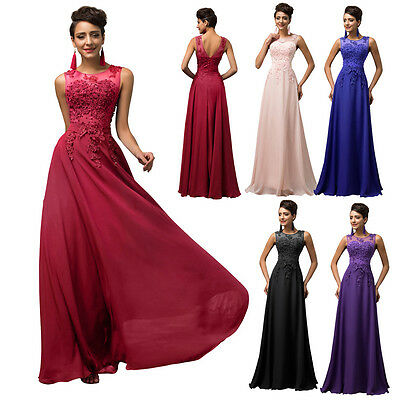 New Chiffon Long Formal Evening Gown Bridesmaid Prom Wedding Party Pageant Dress