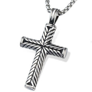 Mens large vintage black silver tone stainless religious cross image is loading men 039 s large vintage black silver tone aloadofball Choice Image