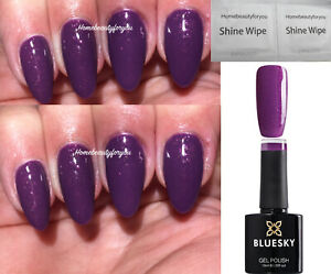 BLUESKY-GEL-POLISH-PURPLE-PLUM-SHIMMER-A03-NAIL-MANICURE-LED-UV-SOAK-OFF