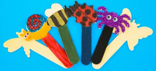 more Wooden Shape Sticks for Children/'s Arts /& Crafts.People faces,bugs,stars