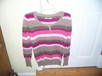 Old Navy Pull Over Stripe Sweater Size S Petite Cotton Blend