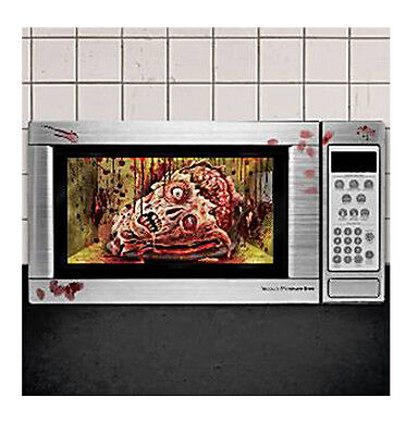 HALLOWEEN GROSS MICROWAVE CLING DECORATION ZOMBIE HEAD BLOODY FINGERPRINTS