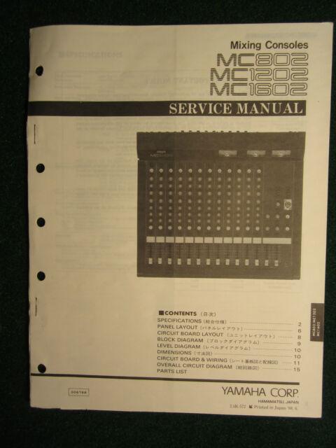 Yamaha Mixing Console Mc802 1202 1602 Service Repair Shop