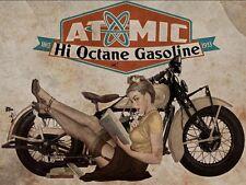Atomic Hi Octane Gas Metal Sign, Sexy 1940s Pinup Girl with Motorcycle, Mancave