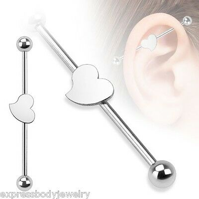 "1 or 2 Pieces 14g 1 1/2"" Closed Solid Heart Industrial Steel Ear Barbell"