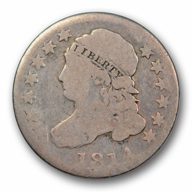 1814 Capped Bust Dime Good G Large Obverse Cud Large Date #8560
