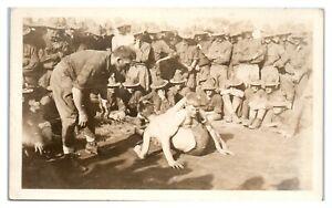 RPPC-WWI-US-Army-Base-Wrestling-Match-Real-Photo-Postcard-5W3