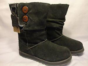 c4fedfb67bb Details about Women's Skechers Australia Warm Cozy Gray Suede Boots Size 6  Faux Fur Lined Grey