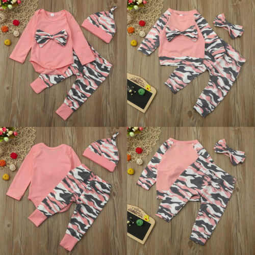 Newborn Toddler Baby Girls Top Romper Camoufalge Pants 3Pcs Outfits Set Clothes