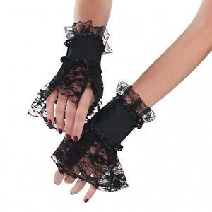 Netzhandschuhe für Damen in Schwarz mit Spitze Fasching Karneval Gothic