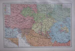 1893 Groß Antik Landkarte ~ Ethnographisch Österreich-ungarn Slawonien Bosnien
