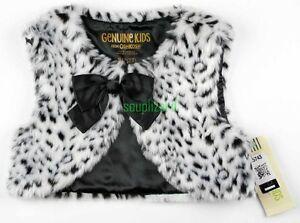 a08744b03 NEW Leopard Faux Fur Vest Baby Toddler Girl Black White OshKosh NWT ...