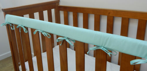 1 x Baby Cot Crib Teething Rail Cover Aqua Celeste 100% Cotton Fits Boori