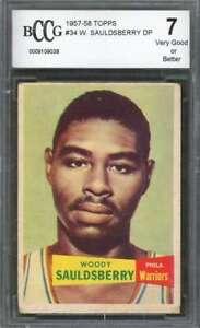 Woody-Sauldsberry-Rookie-Card-1957-58-Topps-34-Philadelphia-Warriors-BGS-BCCG-7