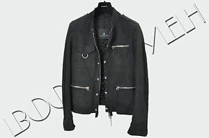 LANVIN-3800-Authentic-New-Navy-Blue-Multi-Pocket-Suede-Leather-Jacket-sz-46-S