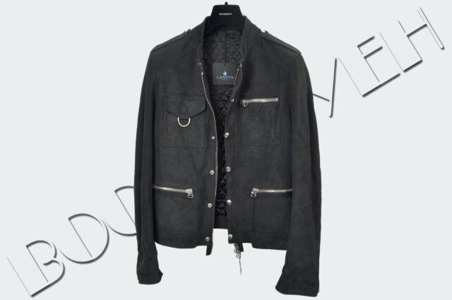 LANVIN 3800$ Authentic New Navy Blue Multi Pocket Suede Leather Jacket sz 46 S