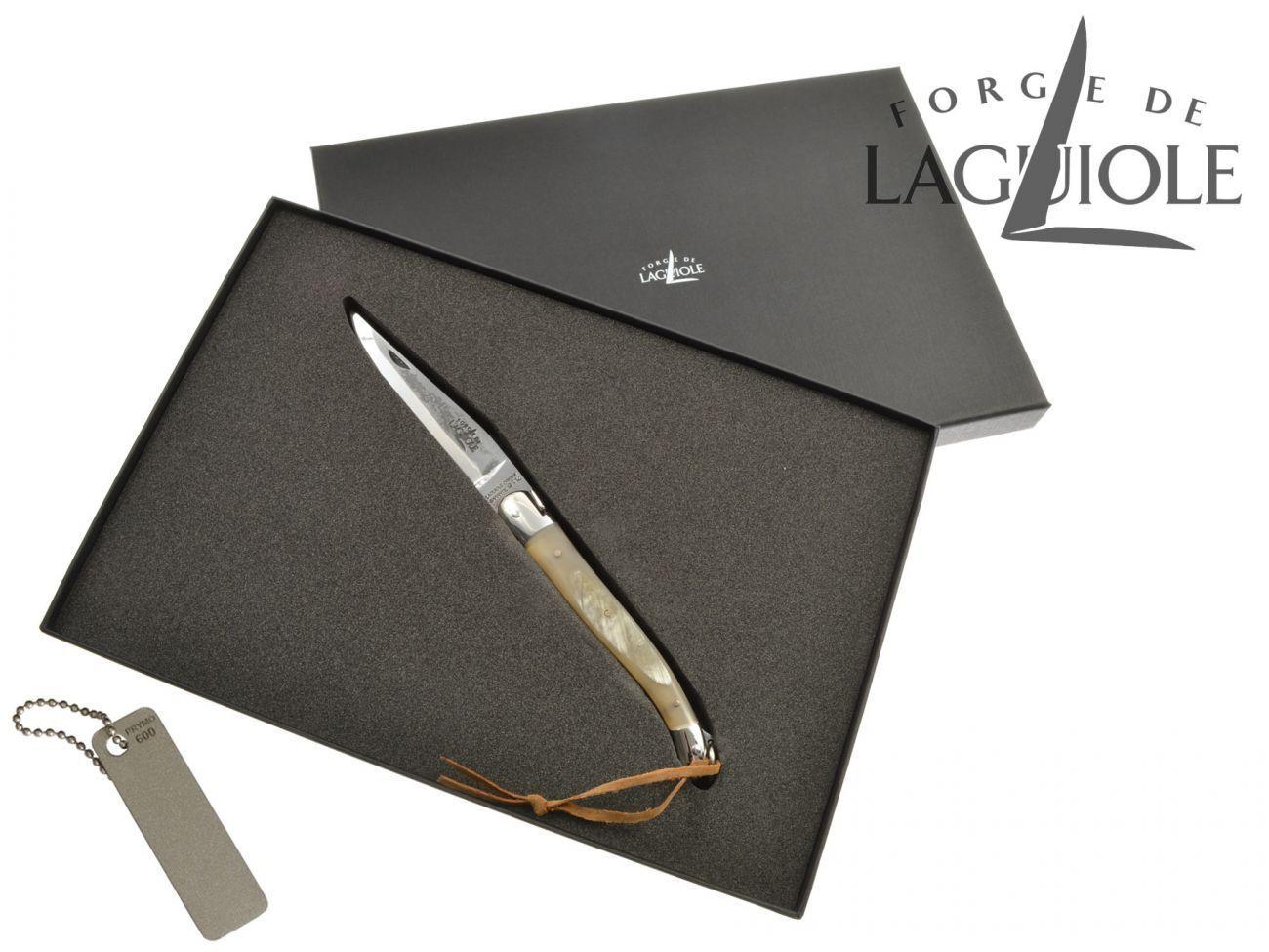 Forge de Laguiole Messer Taschenmesser 11 cm Rinderhorn glänzend matt + Schärfer