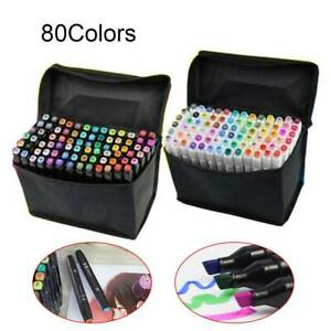80-Colors-Oily-Alcohol-Twin-Tips-Graphic-Art-Markers-Pen-Fine-Broad-Gel-Pens